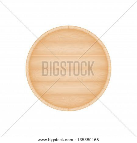 Natural textured wooden beer oak barrel bottom vector illustration