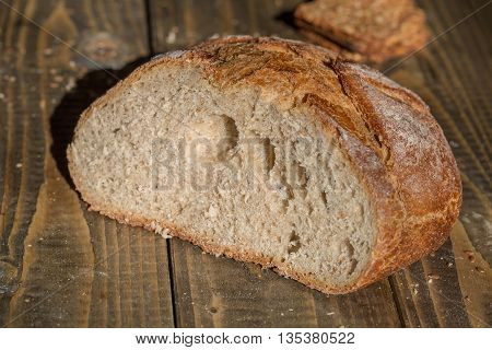 Cut Loaf Of Homemade Bread