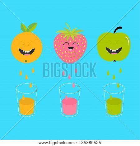 Fresh juice and glasses. Apple strawberry orange fruit with faces. Smiling cute cartoon character set. Natural product. Juicing drops. Flat design. Blue background. Isolated. Vector illustration