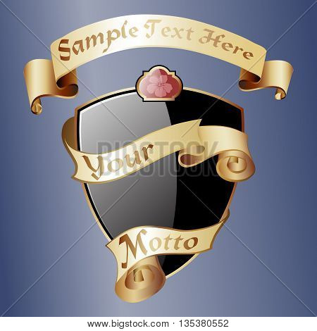 Black royal coat of arms with gold ribbons. Classic royal emblem. Heraldry. Design element.Vector illustration