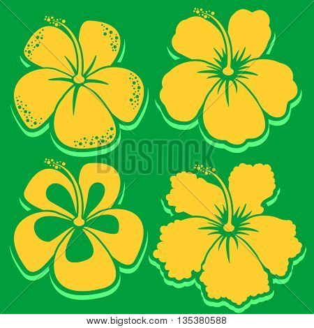 Hibiscus Collection in green color. Vector illustration