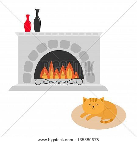 Cute cat lying sleeping on oval carpet rug mat. Funny cartoon character. Fireplace with vase set. Burning fire. Flat design. White background Isolated. Vector illustration