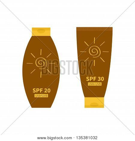Tube of sunscreen suntan cream. Sun lotion. Bottle set. Solar defence. Spiral sun sign symbol icon. SPF 20 30 sun protection factor. UVA UVB sunscreen. Isolated. White background. Flat Vector