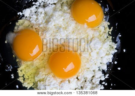 Broken Eggs On Cottage Cheese