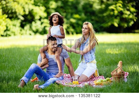 Family enjoying picnicking in nature in park