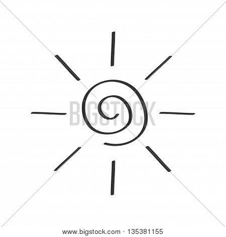 Spiral sun shining sign symbol. Swirl shape. Thin line icon. Hello summer. Flat design. Black color. Isolated. White background. Vector illustration