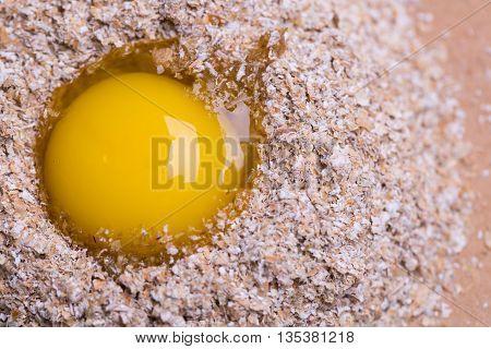 Broken Egg On Bran