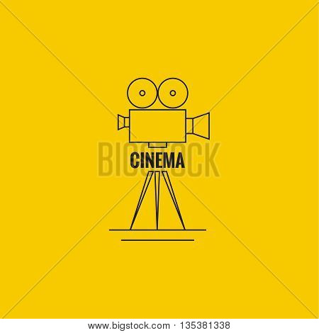 Movie projector vector illustration.  Cinematic camera. Logo. Linear icon. Line art