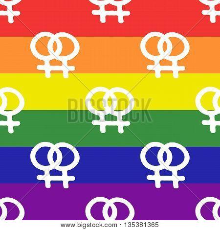 Lesbian symbols on LGBT flag pattern, vector illustration