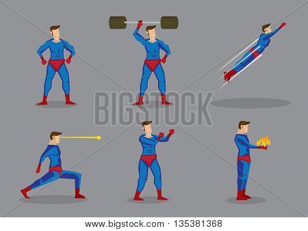 Vector cartoon illustration of superhero character showing super power and superhuman abilities isolated grey background.