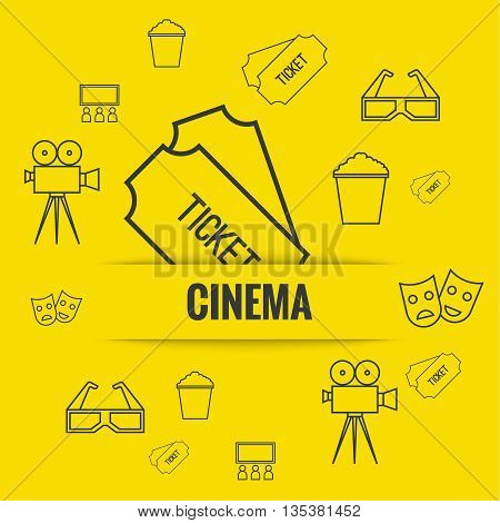 Abstract background with popcorn, camera, 3D glasses and  tickets. The concept of a cinema and watching a movie. Layout, flyer, poster for announcement