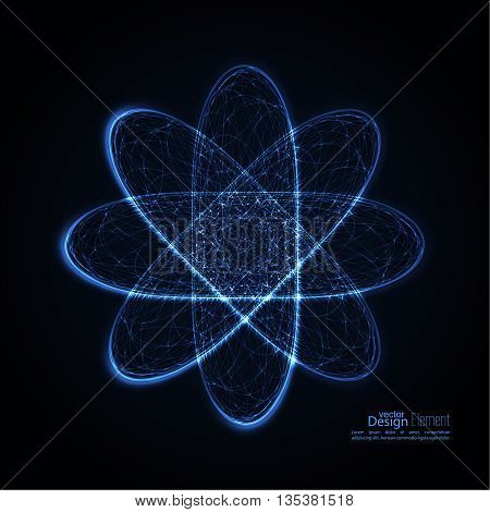 Abstract background with with glowing paths of the molecules, of electrons and protons. Science concept. Vector backdrop. Particle orbits.  quantum