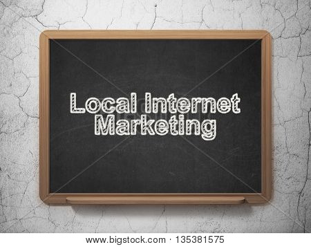 Advertising concept: text Local Internet Marketing on Black chalkboard on grunge wall background, 3D rendering