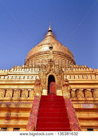 Shwezigon golden pagoda, a historical site in Bagan, Myanmar