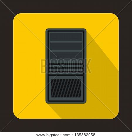 Black computer system unit icon in flat style on a yellow background