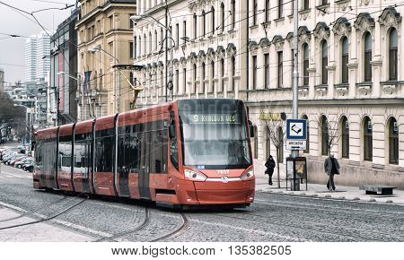 Red Tramway in city Bratislava - Slovakia