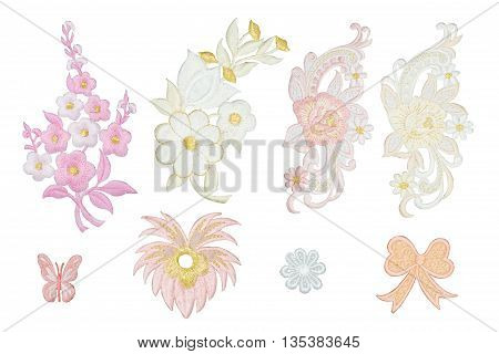 Isolate of Neckline  Flower embroidery fashion over white background