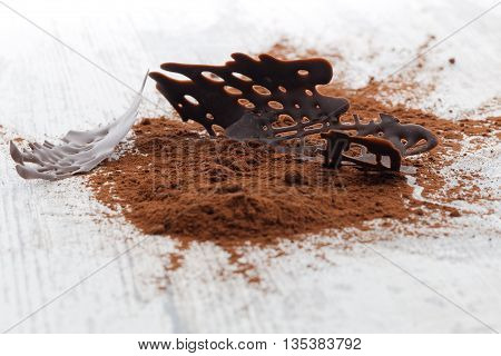 Dark chocolate pieces and cocoa powder on a wooden table