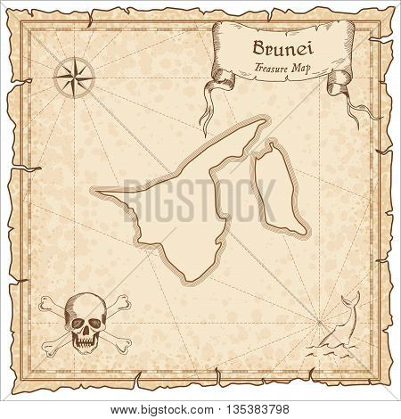 Brunei Darussalam Old Pirate Map. Sepia Engraved Template Of Treasure Map. Stylized Pirate Map On Vi