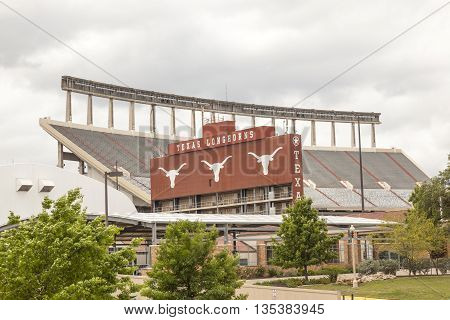 AUSTIN USA - APR 10: Darrell K Royal Texas Memorial Stadium at campus of University of Texas. April 10 2016 in Austin Texas United States