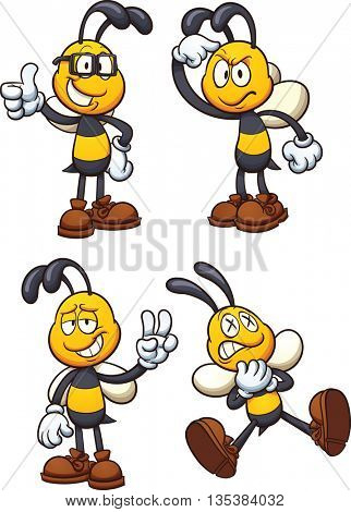 Cartoon bees in different poses. Vector clip art illustrations with simple gradients. Each on a separate layer.