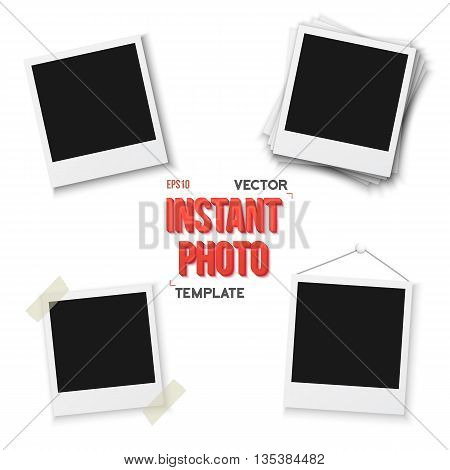Illustration of Vector Instant Photo. Blank Vintage Photo Frame Mockup Isolated on a White Background. Photorealistic Vector EPS10 Retro Instant Photo Frame Mockup