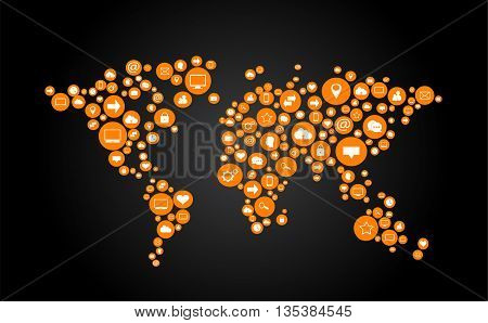 world map vector flat orange with social media icons