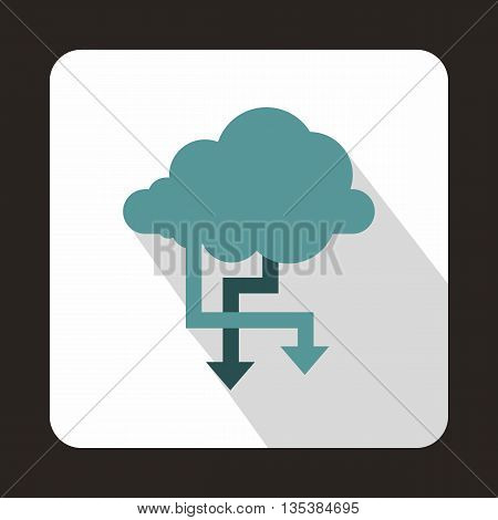 Cloud and arrows icon in flat style on a white background