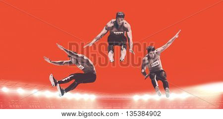 Composite image of sportsman is jumping against red background