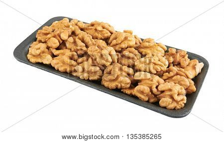 Walnuts in package, isolated on the white background
