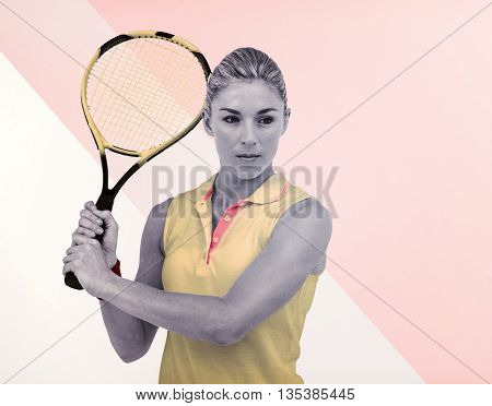 Composite image of athlete playing tennis on multicoloured background