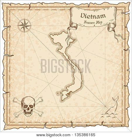 Vietnam Old Pirate Map. Sepia Engraved Template Of Treasure Map. Stylized Pirate Map On Vintage Pape