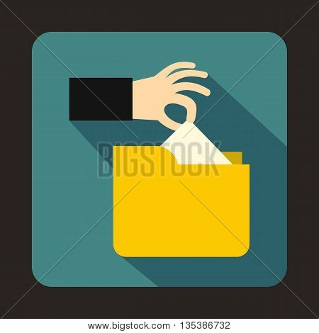 Robbery secret data in yellow folder icon in flat style on a blue background