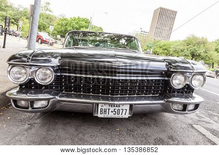 AUSTIN USA - APR 10: Black 1960 Cadillac Eldorado Seville Coupe in the city of Austin. April 10 2016 in Austin Texas United States