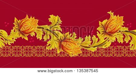 Horizontal floral border. Pattern seamless. Old style stylized flowers and leaves swirls gold braiding.