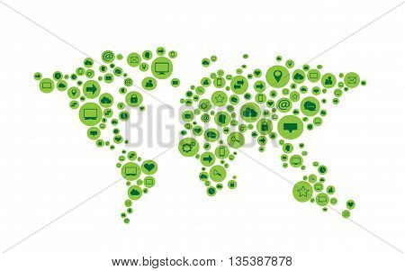 world map vector flat green with social media icons