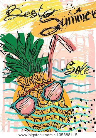 Hand drawn vector abstract template card for Summer sale.Design element for summer salesea salefood sale travel saleorganic salenatural food sale clothing saleholidays salesun glasses sale.