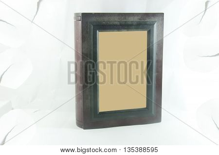 old picture frame on old white blackground