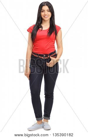 Full length portrait of a cheerful casual woman posing isolated on white background