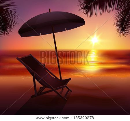 Sunset lounge and umbrella on beach in tropics background cartoon vector illustration