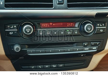 car conditioner. Air conditioner in car. detail with the air conditioning button inside a car