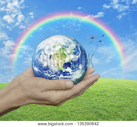 Earth in hands over green grass with blue sky cloud rainbow and bird Environment concept Elements of this image furnished by NASA