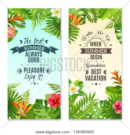 Summer vacation in tropical rainforest 2 vertical banners with hibiscus and bird paradise plants flowers isolated vector illustration