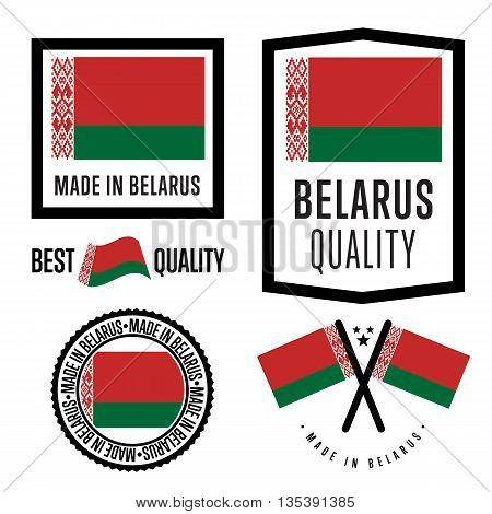 Made in Belarus label set. Vector Belarus flag. Symbol of quality. Manufacturing by Belarus. Tags and sticker collection. Vintage and modern stamp.
