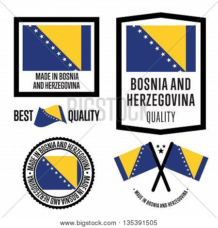 Made in Bosnia and Herzegovina label set. Vector Bosnia and Herzegovina flag. Symbol of quality. Manufacturing by Bosnia and Herzegovina. Tags and sticker collection. Vintage and modern stamp.
