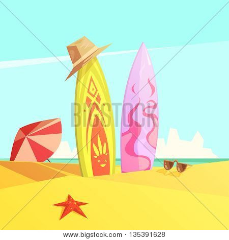 Retro cartoon color illustration couple of bright serf on sand beach vector illustration