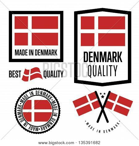 Made in Denmark label set. Vector Denmark flag. Symbol of quality. Manufacturing by Denmark. Tags and sticker collection. Vintage and modern stamp.