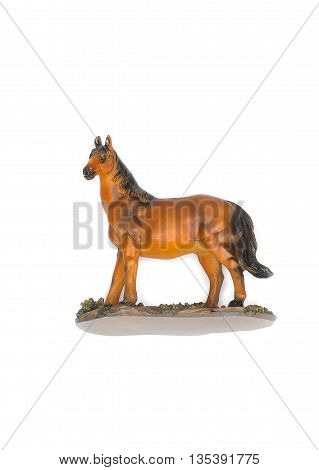 Horse,Children toy beautiful, Horse souvenir made of resin on white background.