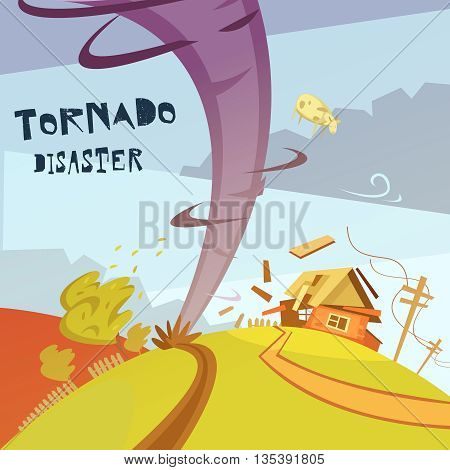 Color cartoon illustration tornado disaster depicting broken house vector illustration