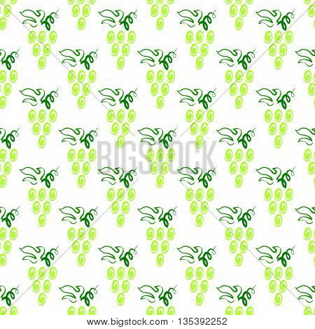 Grapes Seamless Pattern. Vine Background. Fruits and Vegetables Texture. Silhouettes of Grapes.